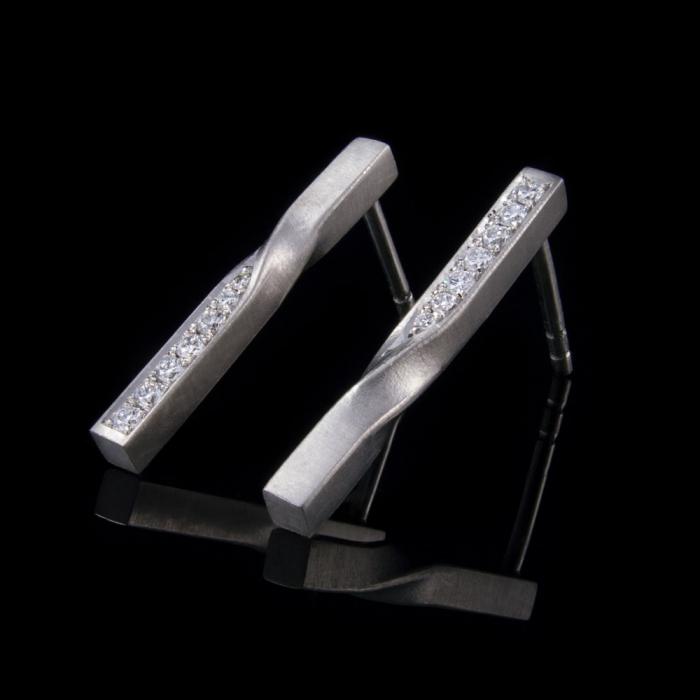diamond twist earrings