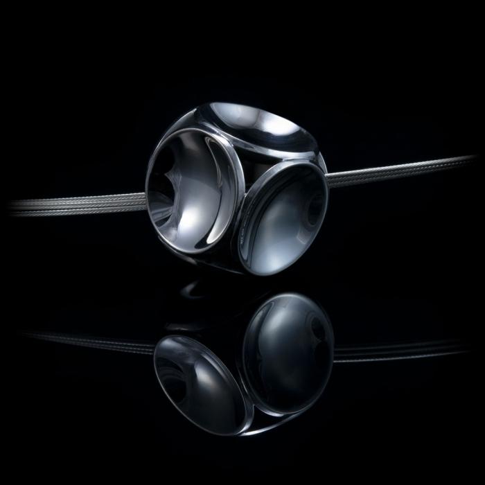cube silver black rhodium pendant