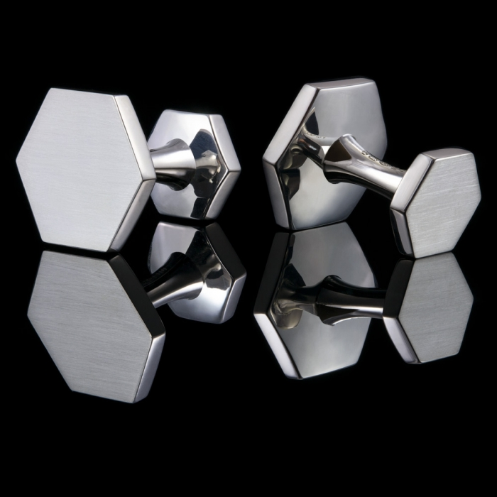 hexagon silver cufflinks