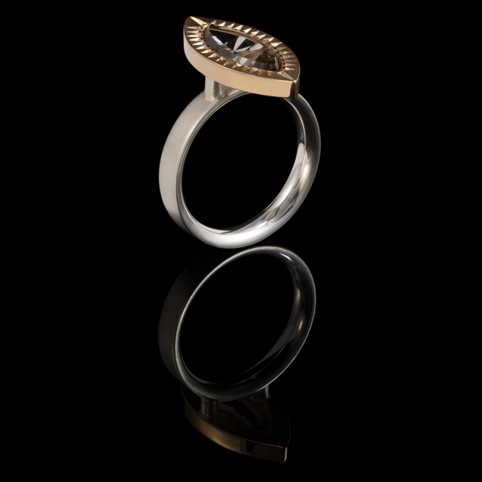 marquise cut gemstone smokey quartz silver dress ring red gold