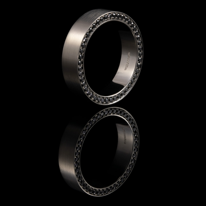 black diamonds palladium alternative eternity ring