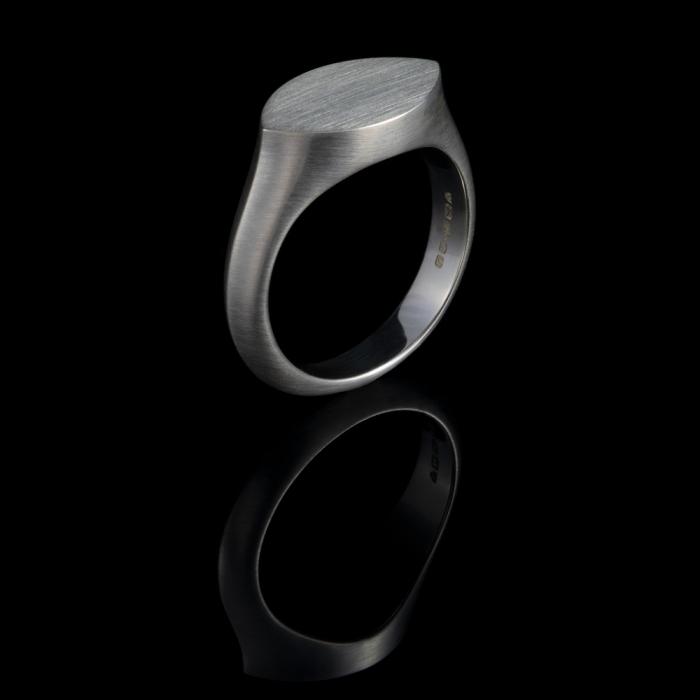 signet ring silver minimal navette