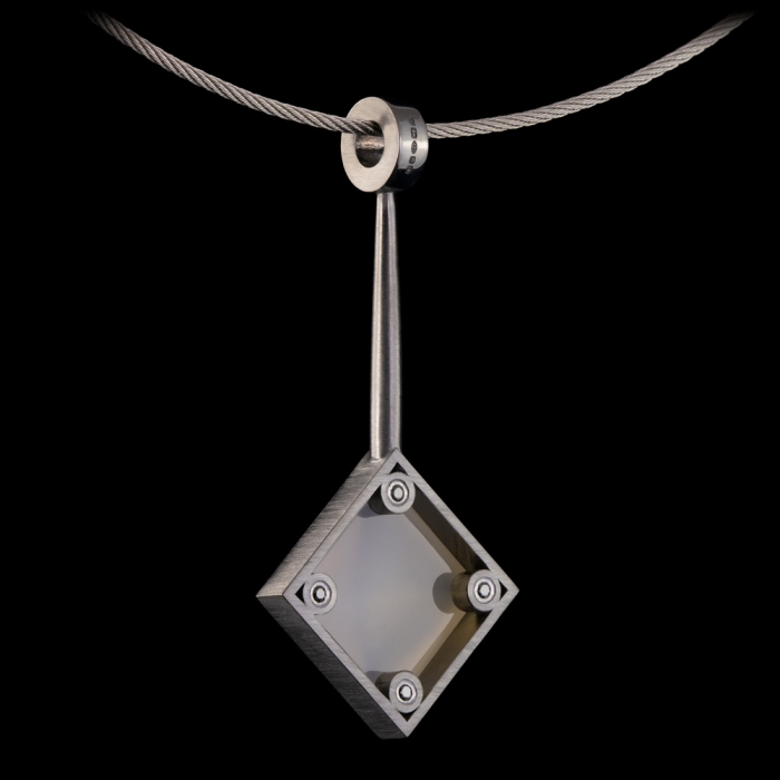 silver black rhodium modernist chalcedony pendant