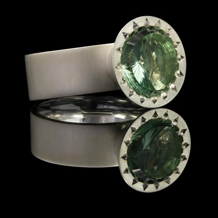 gemstone concave cut sterling silver prasiolite