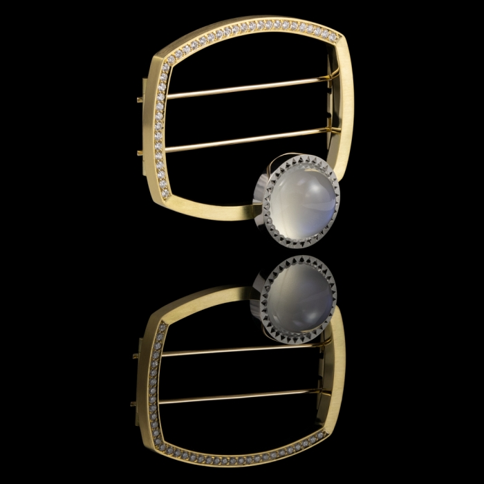 gold platinum moonstone diamonds brooch