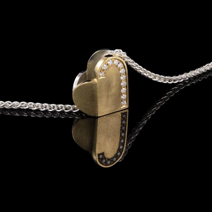 heart diamond gold silver
